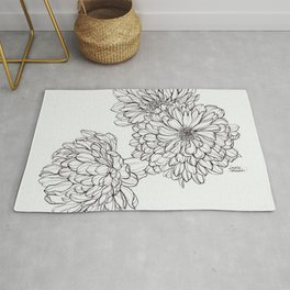 Ink Illustration of Summer Blooms Rug