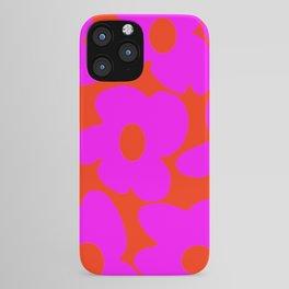 Pink Retro Flowers Orange Red Background #decor #society6 #buyart iPhone Case