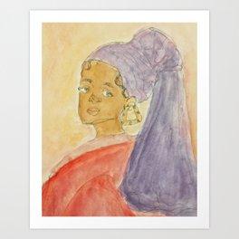 Girl with Bamboo Earring Art Print