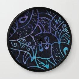 Blue Batik 12 Wall Clock
