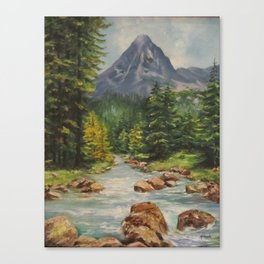 Landscape River and Mountains Canvas Print