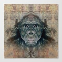 monkey Canvas Prints featuring Monkey by Zandonai