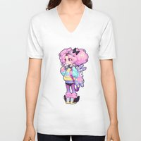 chibi V-neck T-shirts featuring chibi by barachan