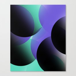 Blue Black Turquois Circles Canvas Print