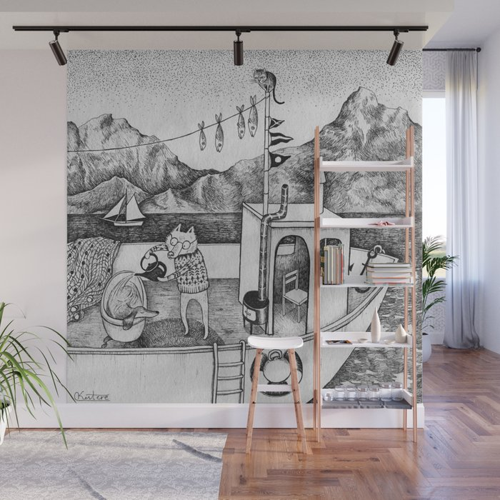 Fox on Fishing boat Wall Mural by ulrikakestere Society6