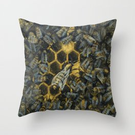 The Golden Hive Throw Pillow