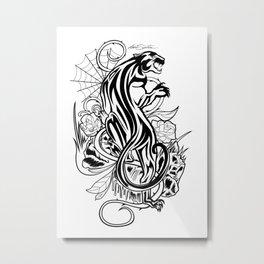 Panther - Black & White Metal Print