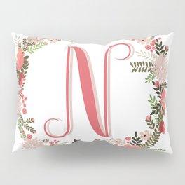 Personal monogram letter 'N' flower wreath Pillow Sham