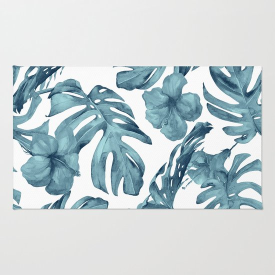 Teal Blue Tropical Palm Leaves Flowers Rug By Simple Luxe