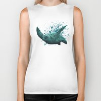 "biology Biker Tanks featuring ""Eclipse"" - Green Sea Turtle, Acrylic by Amber Marine"