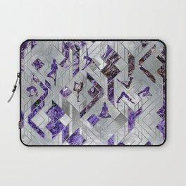 Yoga Asanas in Amethyst on geometric pattern Laptop Sleeve