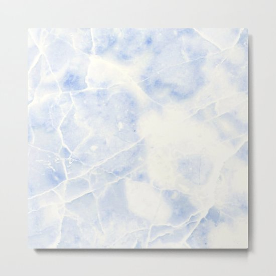 Blue and White Marble Waves Metal Print