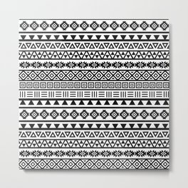 Aztec Influence Pattern II Black on White Metal Print