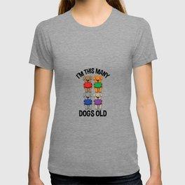Im This Many Dogs Old 4 Yr Boy Girl Birthday Idea T Shirt