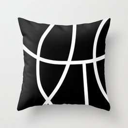 NEGATIVE white abstract lines on solid black background Throw Pillow