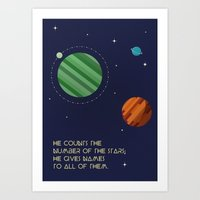 Stars and Planets - Psalm 147 verse 4 Art Print