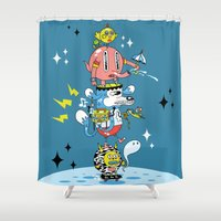 skate Shower Curtains featuring Skate Squad by Frenemy