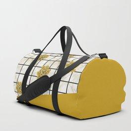 Succulents geometric composition - Yellow Lemon Curry Duffle Bag