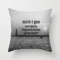 michigan Throw Pillows featuring Michigan by KimberosePhotography