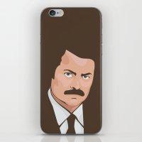 ron swanson iPhone & iPod Skins featuring Ron Swanson by CheekyMonkeyArt