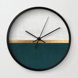Deep Green, Gold and White Color Block Wall Clock