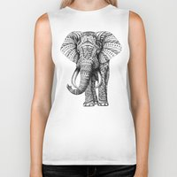 floral pattern Biker Tanks featuring Ornate Elephant by BIOWORKZ