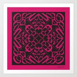 Courage of her Conviction Mandala - Fuchsia Black Art Print
