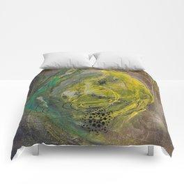 Lime spray painting on canvas, handmade Comforters