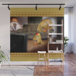 Father And Son Couch Potatoes Wall Mural