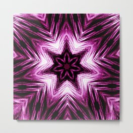 Bright Dark Violet Wine Red Abstract Blossom #purple #kaleidoscope Metal Print