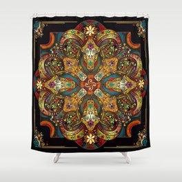 Mandala Sacred Rams - Dark Version Shower Curtain