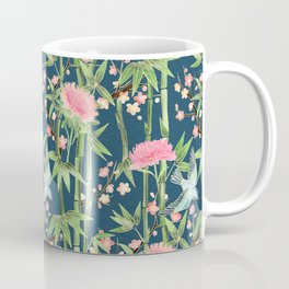 Bamboo, Birds and Blossom - dark teal Coffee Mug