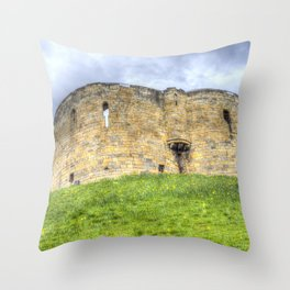 York Castle And Daffodils Throw Pillow