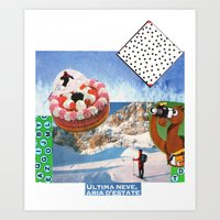 skiing Art Prints featuring skiing by Studio 13