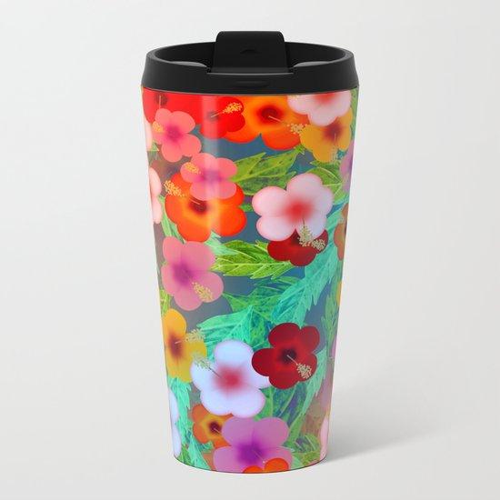 Colorful Hibiscus Metal Travel Mug