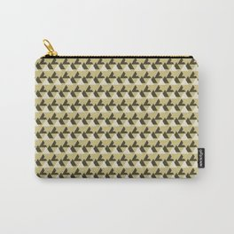 Gold and White Abstract Triangles Geometric Pattern Carry-All Pouch