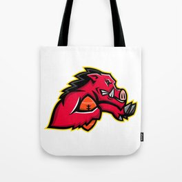 Wild Boar American Football Mascot Tote Bag