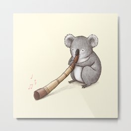 Koala Playing the Didgeridoo Metal Print
