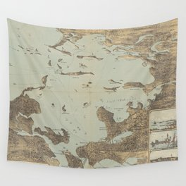 Vintage Pictorial Map of Boston Harbor (1879) Wall Tapestry