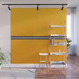 NY Taxi Cab Yellow with Black and White Check Band Wall Mural