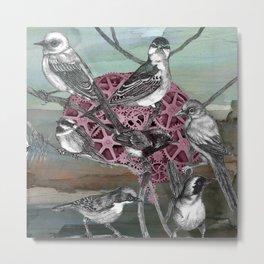 Pájaros en la cabeza Metal Print
