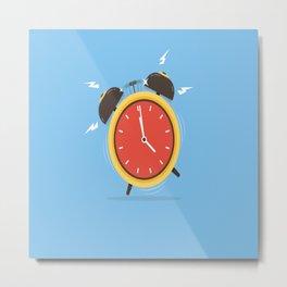 alarm clock weker time red blue Metal Print