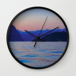 View of Lago d'Iseo | Lago d'Iseo Italy travel photography | Sunset Art Print Wall Clock