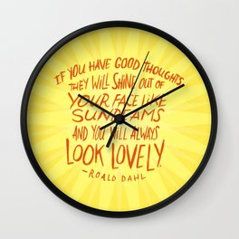 Roald Dahl on Positive Thinking Wall Clock