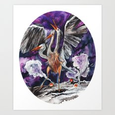 Three-headed Evil Bird God! Art Print