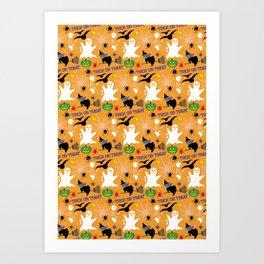 Halloween Pattern 2 - Ghost, Flying Witch, Skeleton, Bats, Spiders, Web, Pumpkin Art Print
