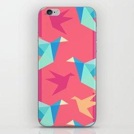Vivid Pink Paper Cranes iPhone Skin