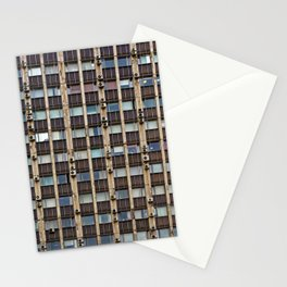 Front of the old office building, glass and concrete, windows, window blinds and air conditioners Stationery Cards