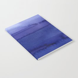 Blue Violet Watercolor Horizontal Stripes Abstract Notebook
