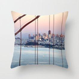 SAN FRANCISCO & GOLDEN GATE BRIDGE AT SUNSET Throw Pillow